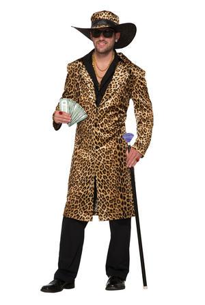 Leopard Pimp Jacket & Hat Fancy Dress Costume Outfit Male Mens Adult One Size