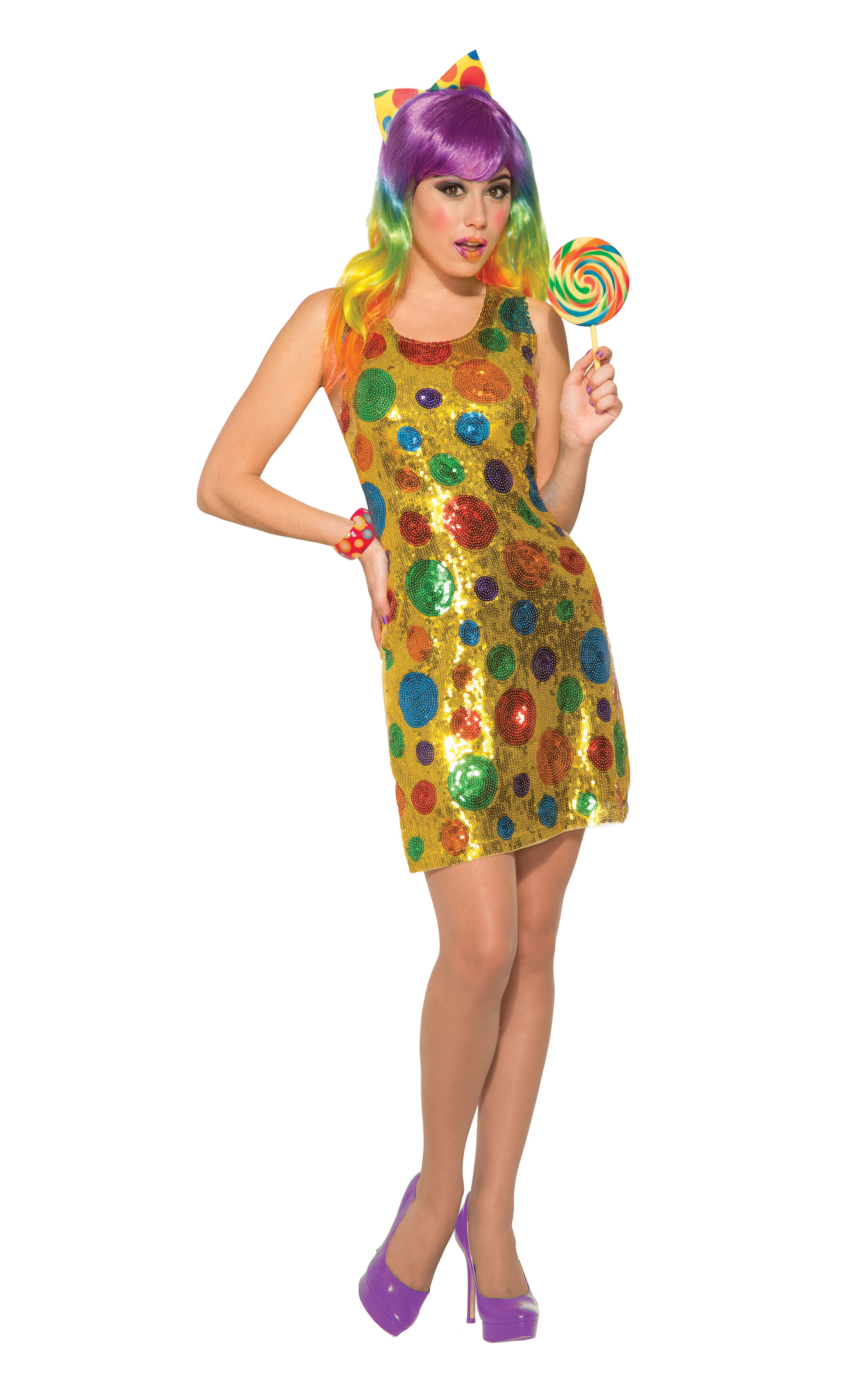 Clown Polka Dot Sequin Dress Fancy Dress Costume Outfit Womens Adult UK 10-12