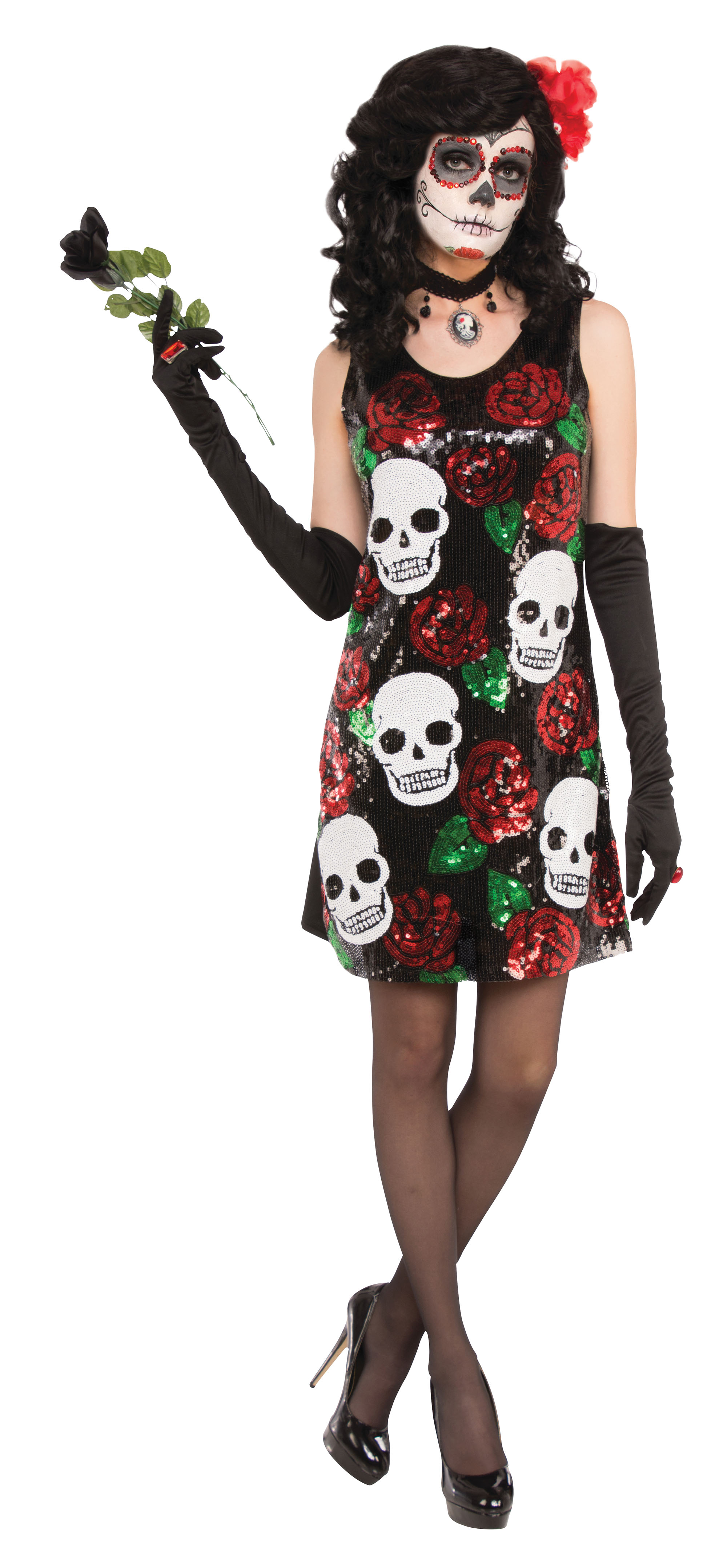 Skull & Roses Sequin Dress Halloween Fancy Dress Costume Womens Adult UK 10-12