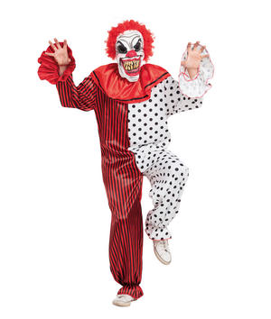 Horror Clown Costume Fancy Dress Costume Outfit Male Mens Adult One Size