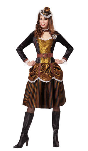 Steampunk Vintage Cogs Lady Fancy Dress Costume Outfit Womens Adult UK 10-12