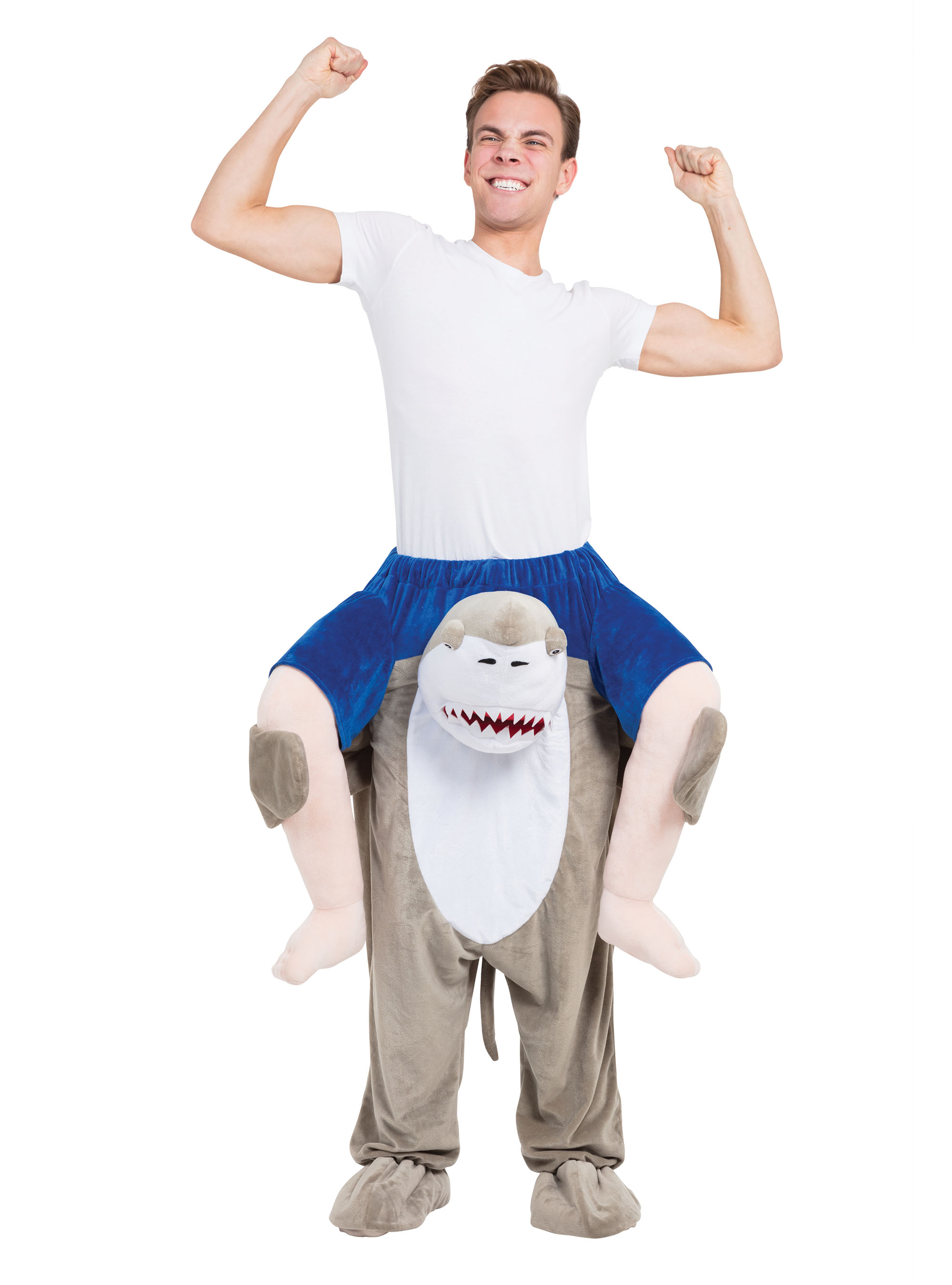 Sentinel Shark Piggy Back Costume Fancy Dress Costume Outfit Male Mens Adult One Size  sc 1 st  eBay & Shark Piggy Back Costume Fancy Dress Costume Outfit Male Mens Adult ...
