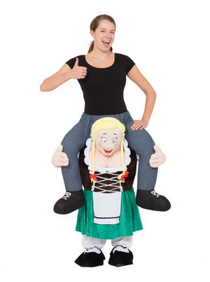 Bavarian Lady Piggy Back Costume Fancy Dress Costume Male Mens Adult One Size