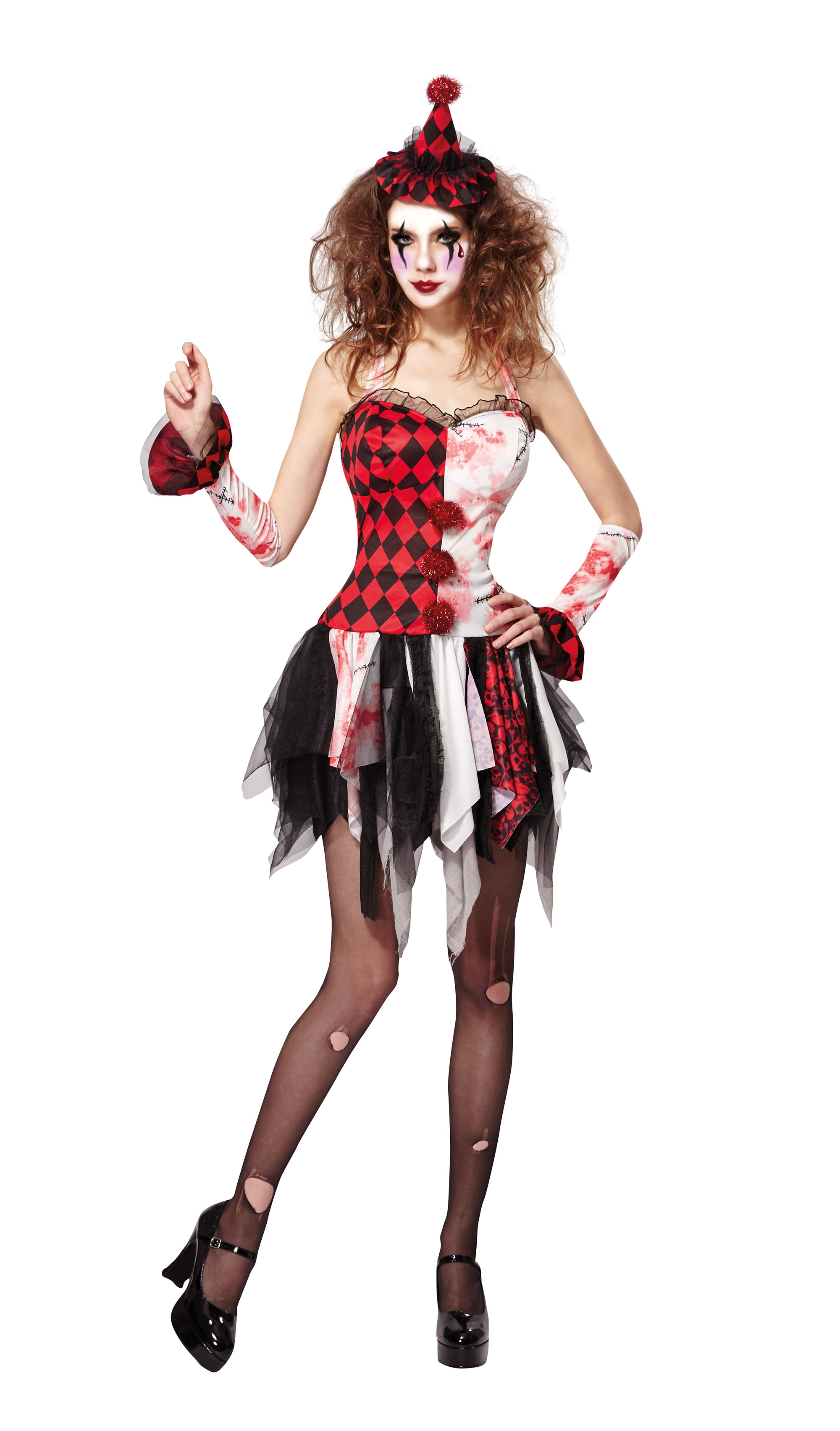 Jester Lady Scary Fancy Dress Costume Outfit Womens Adult UK 10-12