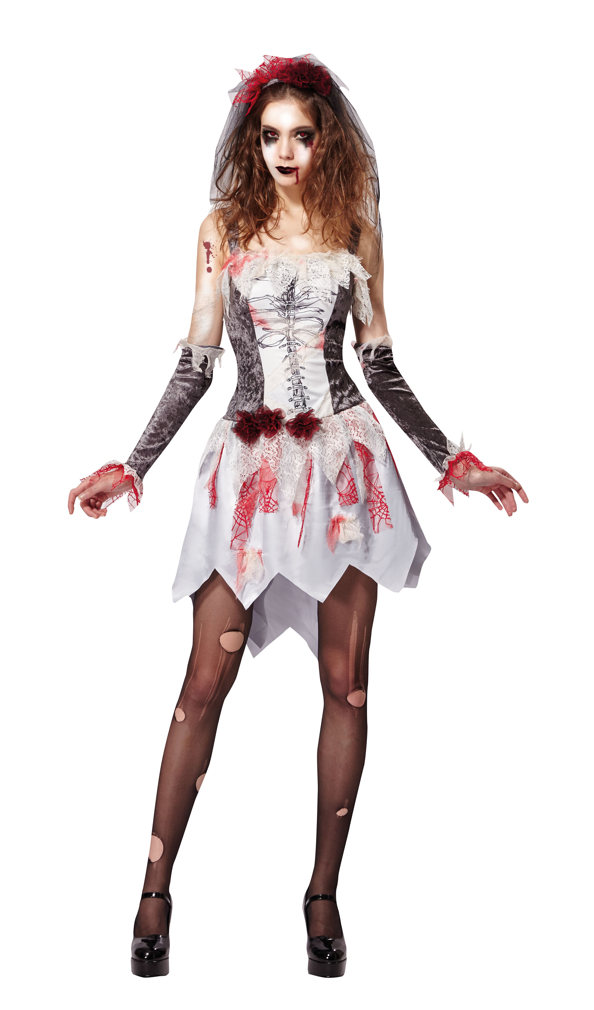 Skeleton Bride Grey/White Fancy Dress Costume Outfit Womens Adult UK 10-12