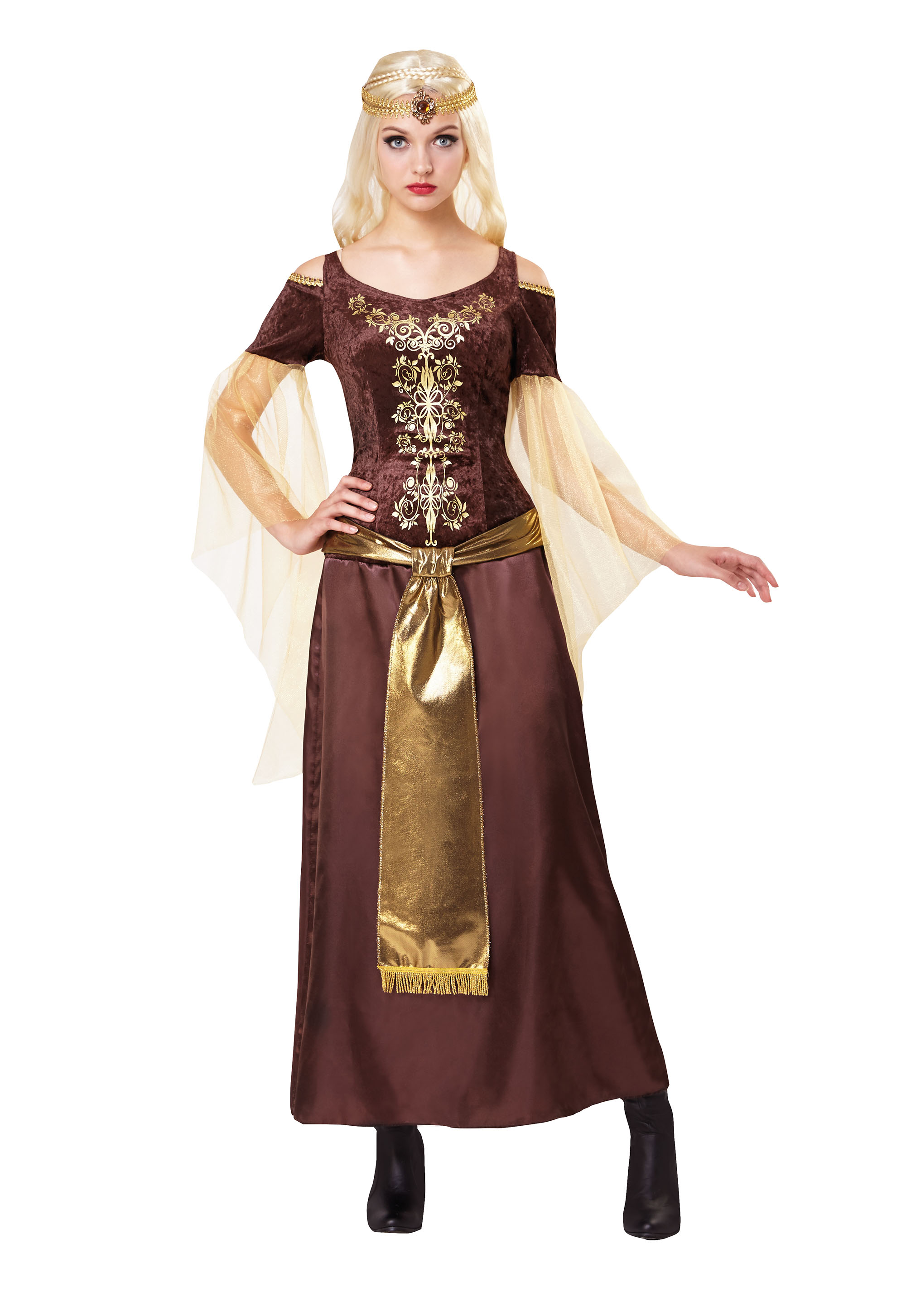 Medieval Lady Fancy Dress Costume Outfit Womens Adult UK 10-12