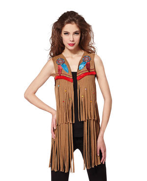 Indian/Hippy Waistcoat Ladies Fancy Dress Costume Outfit Womens Adult UK 10-12