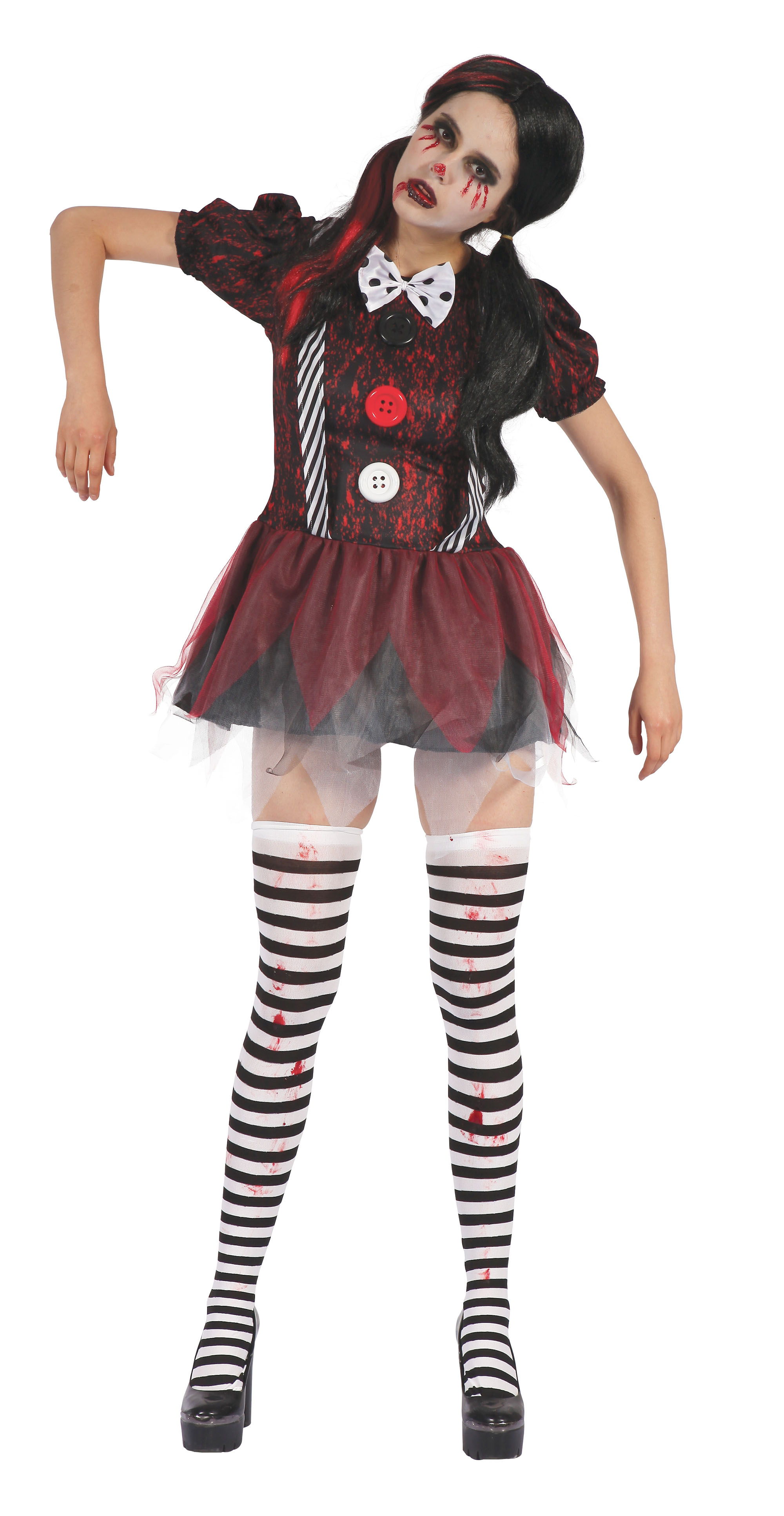 Creepy Doll Dress Fancy Dress Costume Outfit Womens Adult UK 10-12