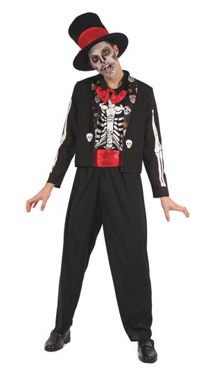 Day of the Dead Bone Suit Fancy Dress Costume Outfit Male Mens Adult One Size