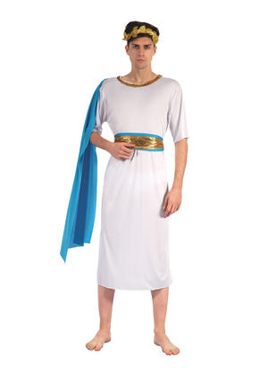 Greek God With Blue Sash Fancy Dress Costume Outfit Male Mens Adult One Size