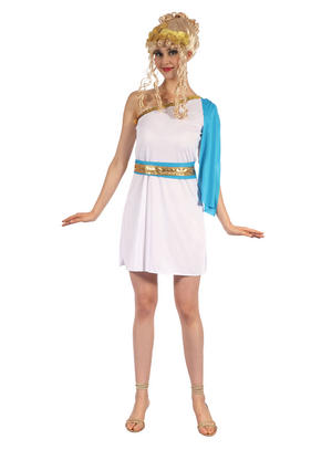 Greek Goddess With Blue Sash Fancy Dress Costume Outfit Womens Adult UK 10-12