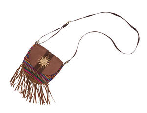 Brown Hippy Bag & Tassels Fancy Dress Costume Accessory Hippie 70s