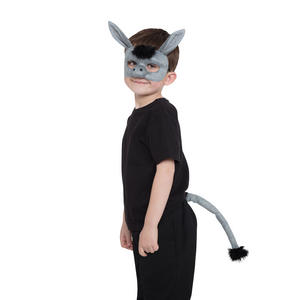 Donkey Fancy Dress Costume Prop Mask & Tail Set Kit Book Week