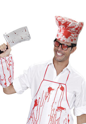 Chef Set Bloody Halloween Horror Fancy Dress Costume Outfit Kit Set