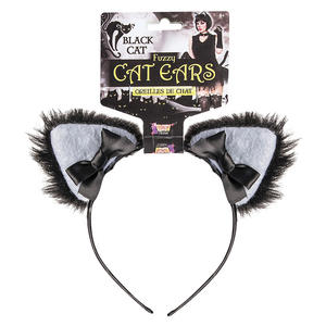 Black Cat Furry Ears Halloween Fancy Dress Accessory