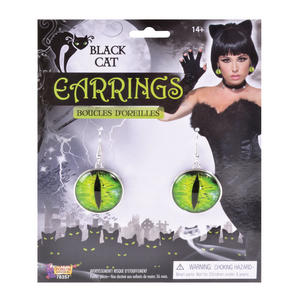 Black Cats Eyes Earrings Halloween Fancy Dress Accessory