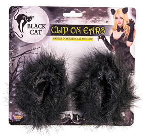 Black Cat Clip On Ears Halloween Fancy Dress Accessory
