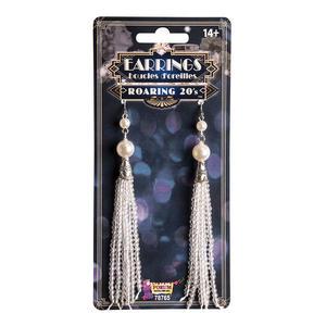 Roaring 20s Charleston Flapper Pearl Tassel Earrings Fancy Dress Accessory