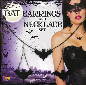 Bat Earring and Necklace Halloween Fancy Dress Accessory