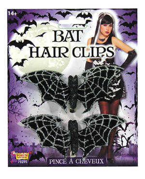 Bat Hair Clips Glitter Halloween Fancy Dress Accessory
