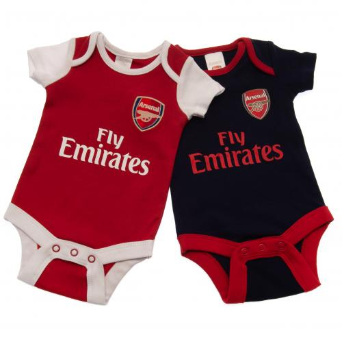 size 40 53117 43652 Details about Arsenal Fc Baby 2 Pack Bodysuit Vests Football Kit 6/9 mths NR