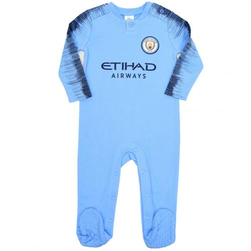 new style dccb2 3ecd6 Details about Manchester Man City Fc Baby Sleepsuit Football Kit Babygrow  12/18 Mths Nv