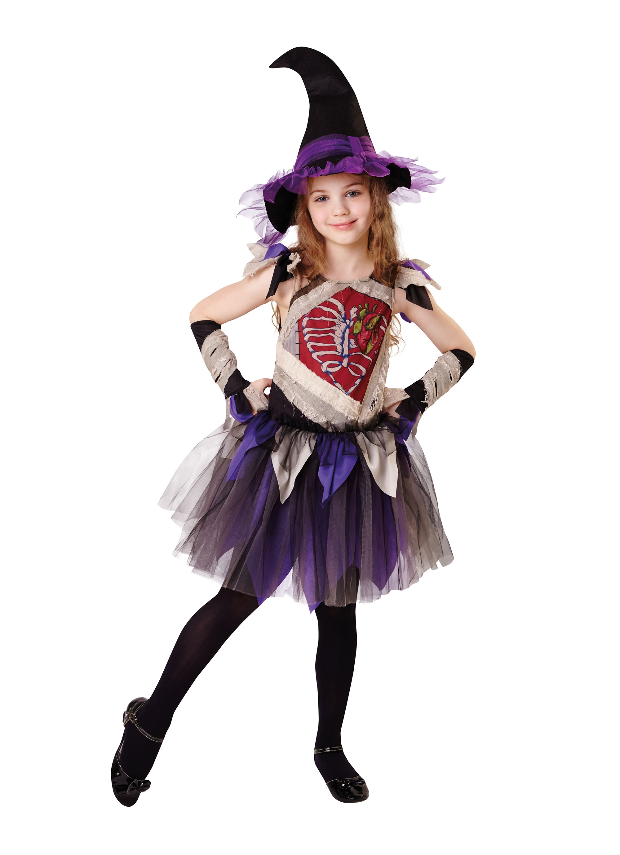 Girls Kids Childs Witch Purple Halloween Fancy Dress Costume Outfit 5-13 Yrs