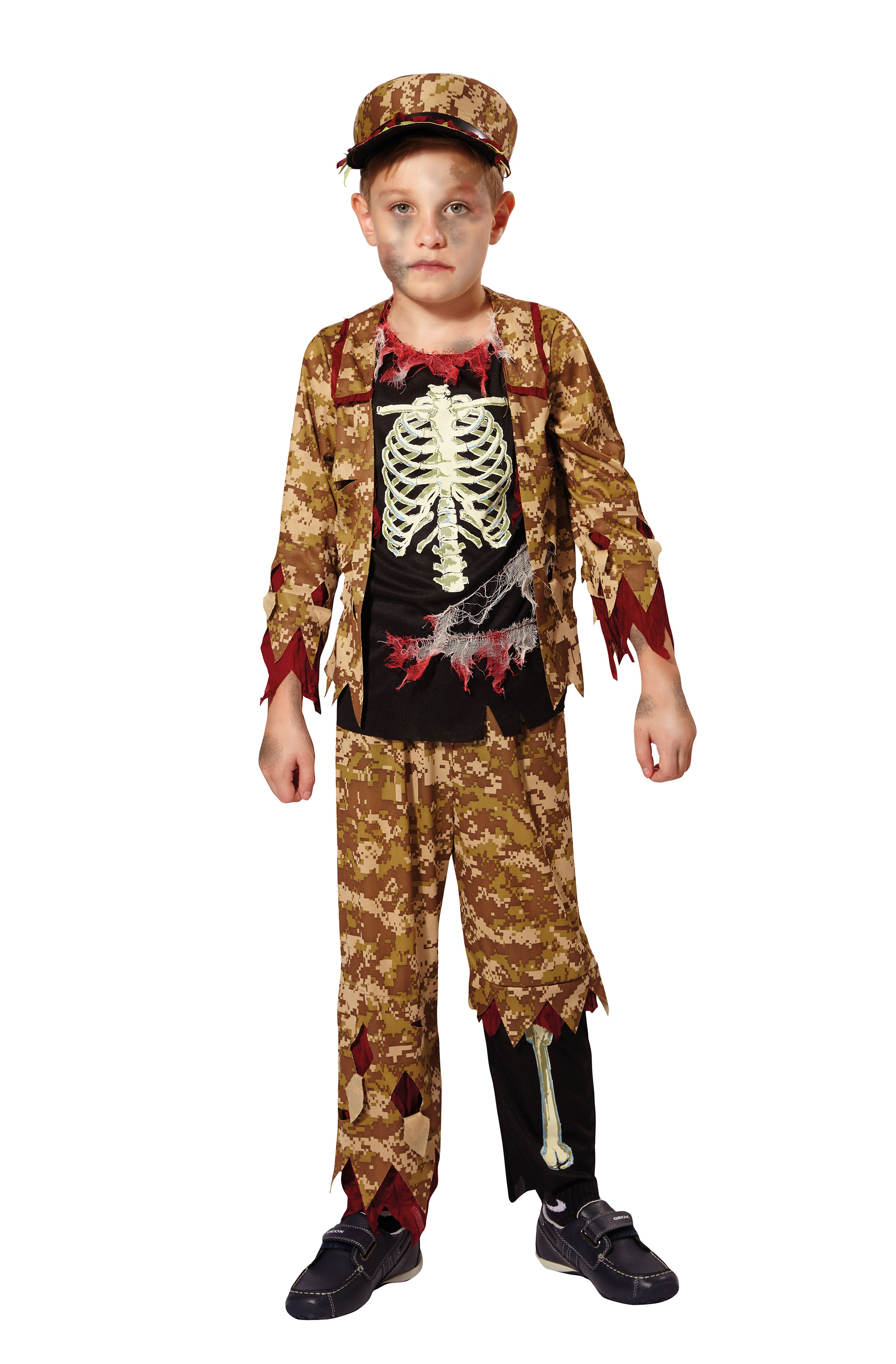 Skeleton Soldier Boys Kids Halloween Fancy Dress Costume Childs Outfit