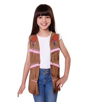 Indian Hippie Waistcoat Girls Kids Fancy Dress Costume Childs Accessory