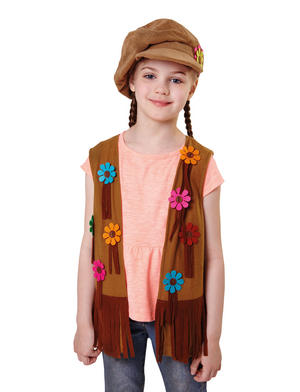 Hippy Girl Flower Waistcoat Kids Childs Fancy Dress Costume Accessory