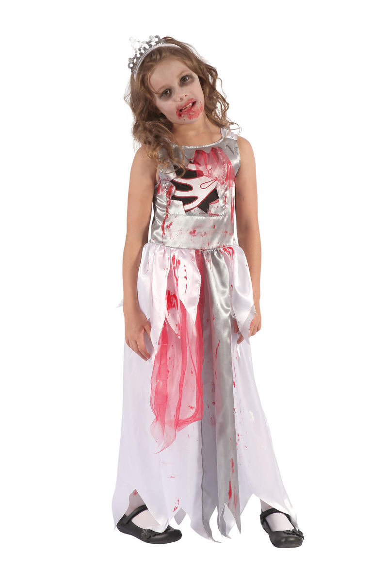Bloody Zombie Prom Queen Girls Kids Halloween Fancy Dress Costume Outfit