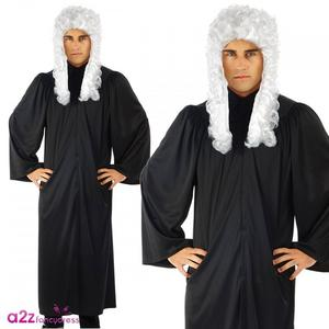 Judge'S Robe Mens Male Fancy Dress Costume Outfit Stag Do Judge Rinder Barister