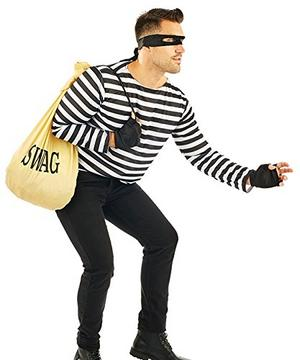 Robber Mens Male Fancy Dress Costume Outfit Criminal Swag Thief Accessory Set