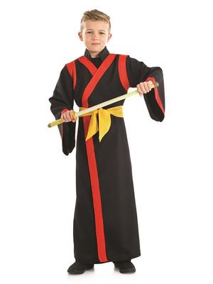 Boys Black Samurai Fancy Dress Costume Ninja Warrior Outfit Kids Childs 4-12 Yrs