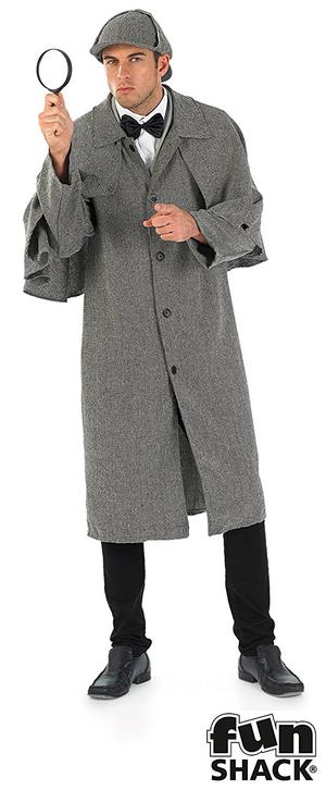 Mens Male Victorian Sherlock Holmes Detective Fancy Dress Costume Outfit New