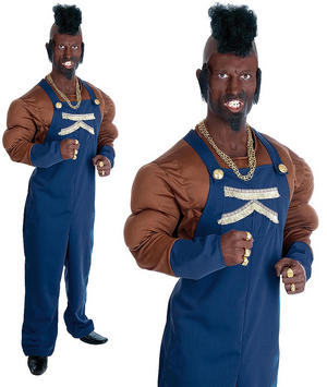 80s Mr T Costume BA Baracus Fancy Dress Mercenary A Team Outfit Mens