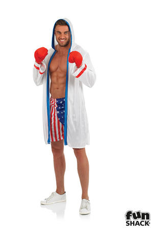 Mens Boxing Fancy Dress Costume Boxer Outfit Stag Do New