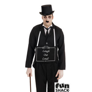 Mens Silent Film Star Charlie Fancy Dress Costume Halloween Outfit 1920s