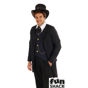 Mens Victorian Man Fancy Dress Costume Steampunk Gentlemen Outfit New
