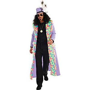 Mens Male Pimp Fancy Dress Costume Gangster 70s Retro Outfit Hippy