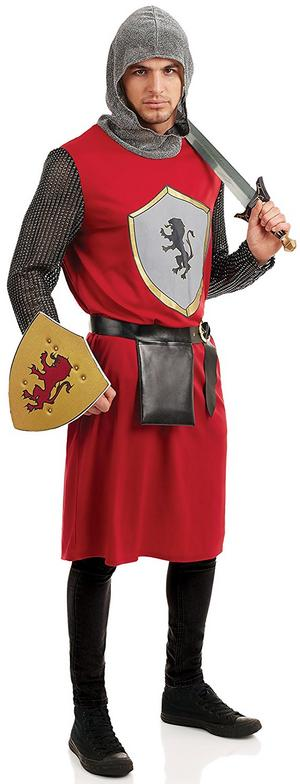 Mens Knight King Arthur Fancy Dress Costume Medieval Warrior Outfit