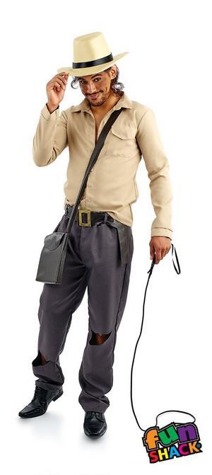 Mens International Explorer Indiana Adventurer Fancy Dress Costume Outfit New