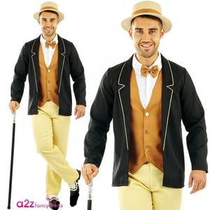 Mens 20s Gentleman Fancy Dress Costume Boater Gent Outfit New