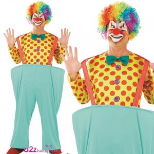 Mens Clown Fancy Dress Costume Male Circus Jester Outfit Stag Do New