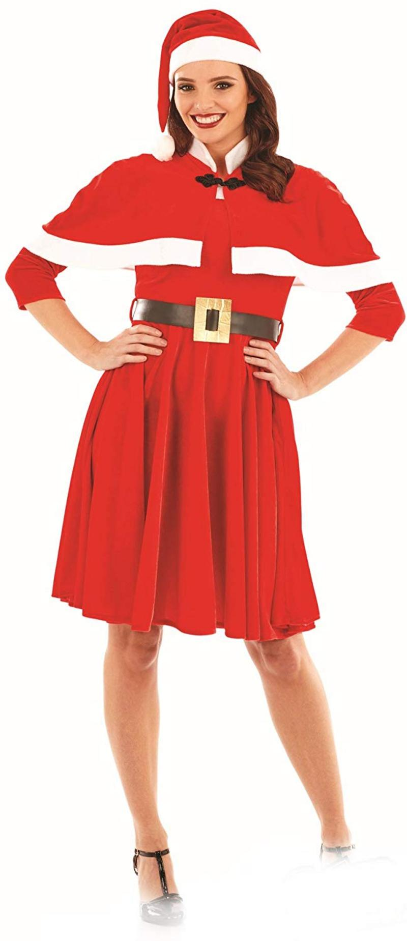 40b46dd2852aa Ladies Womens Miss Santa Fancy Dress Christmas Costume Elf Outfit Mrs Claus.  zoom Hover or click to enlarge. 1