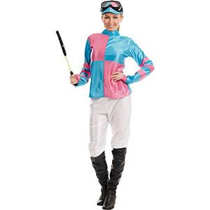 Ladies Womens Pink Blue Jockey Fancy Dress Costume Horse Rider Outfit