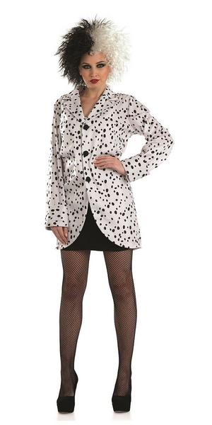 Ladies Womens Cruella Jacket Fancy Dress Costume Outfit Dalmation