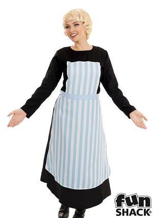Ladies Womens Swish Nanny Fancy Dress Costume Outfit The Sound of Music