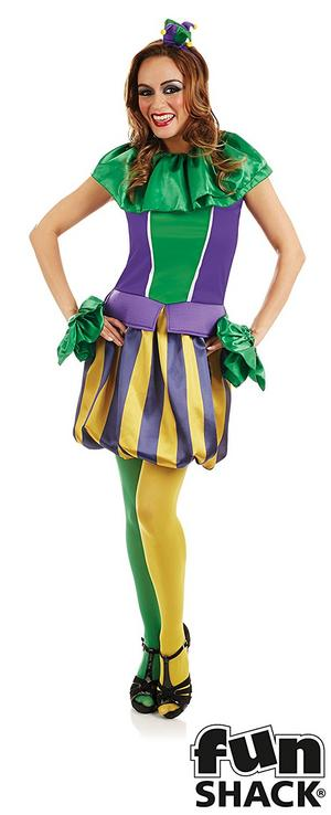 Ladies Womens Court Jester Fancy Dress Costume Clown Outfit