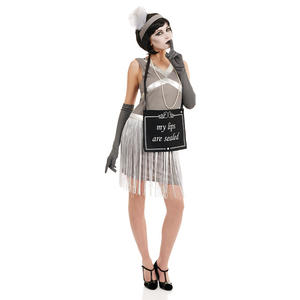 Ladies Womens Silent Film Flapper Girl Charleston 1920s Fancy Dress Costume